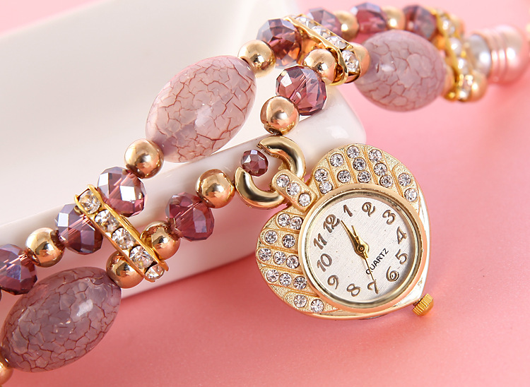 Women Girls Natural stone Bracelet Watch Rhinestone Heart-shaped Pendant Quartz Wristwatches Women Gem Beads Strap Relogios trendy letter heart round rhinestone bracelet for women