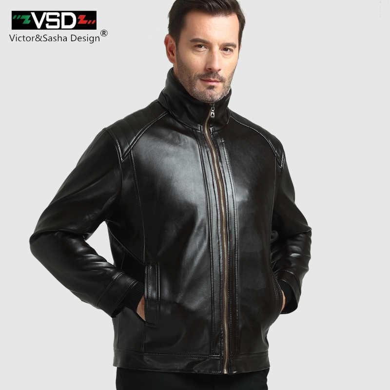 VSD 2018 зимняя повседневная кожаная куртка мужская толстая подкладка из искусственной замши искусственного меха воротник мужские кожаные куртки верхняя одежда b01