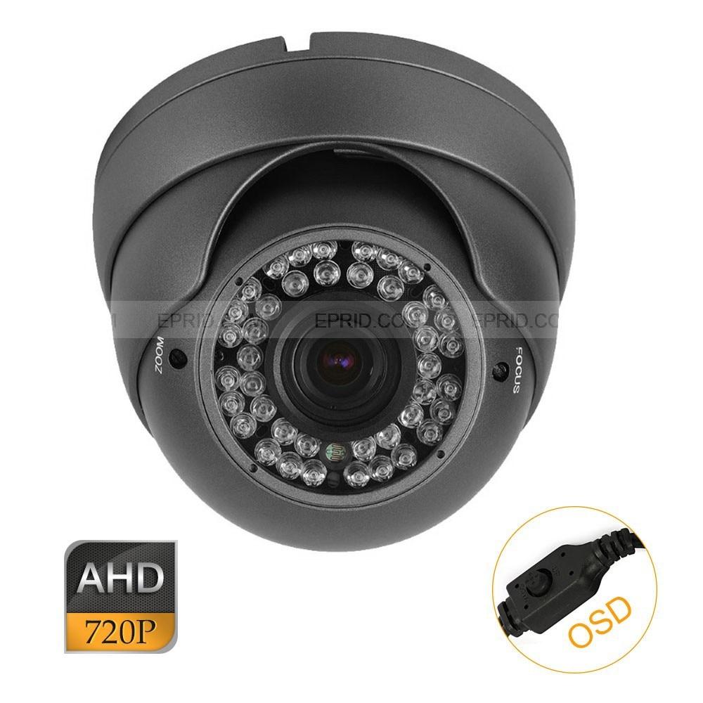 CCTV AHD 1.0MP 720P OSD 2.8-12mm Varifocal Lens Indoor Metal Dome Camera cctv ahd 1 0mp 720p 84 ir 2 8 12mm varifocal lens security icr camera osd