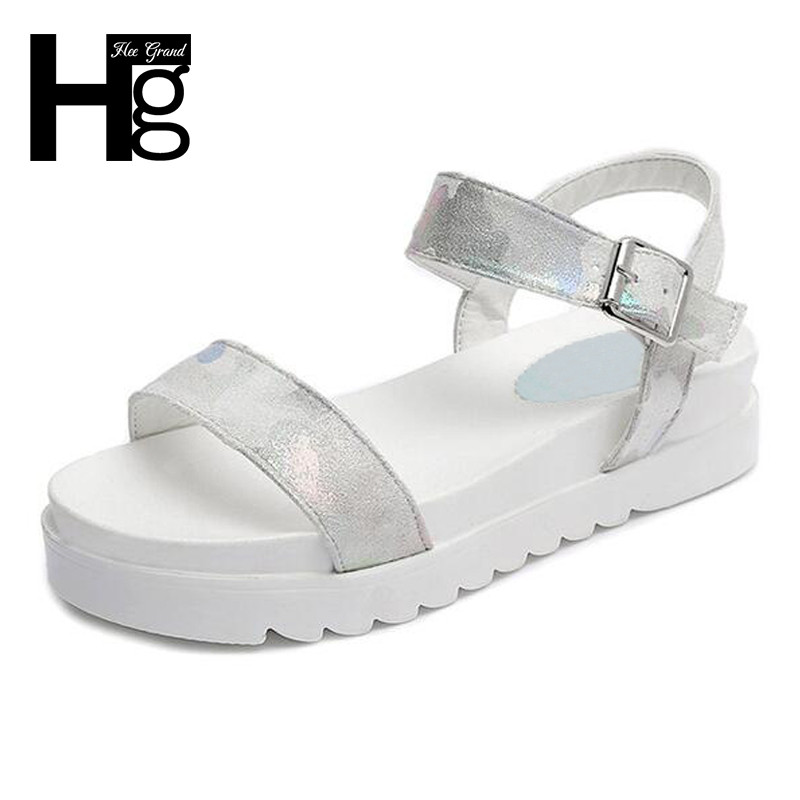 HEE GRAND Women Sandals Concise Buckle Flat Platform Casual Summer Style Sandals Colorful Color Woman Shoes XWZ4294 hee grand casual wedges sandals 2017 summer beach women shoes platform buckle comfort creepers fashion shoes woman xwz3812