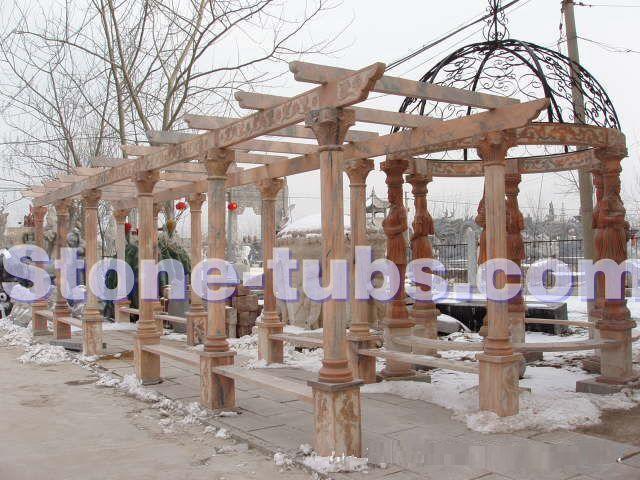 Giardino esterno pergola con colonne marmo summerhouse pergolato