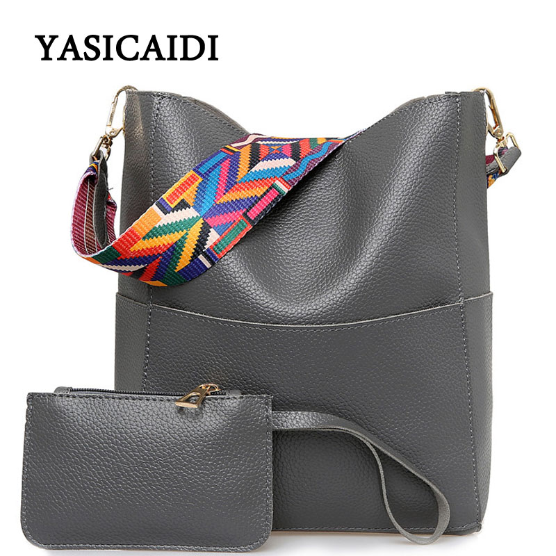 Drop Shipping Luxury Women Bag Designer Brand Famous Shoulder Bag Female Pu Leather Gray Crossbody 2 Pcs Wide Shoulder Strap