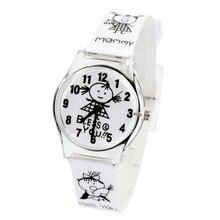 2017 nueva moda reloj de cuarzo de la historieta reloj de los niños del niño estudiante de regalo de cuero para mujer relojes de lujo superior de la marca