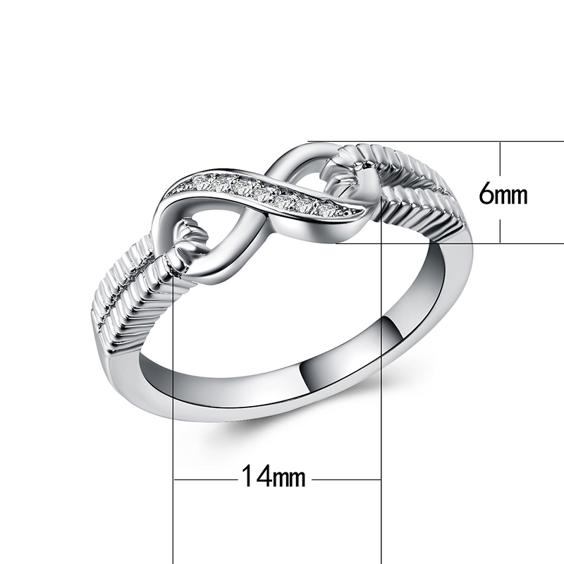 HOMOD Hot Sale Fashion Alloy Crystal Rings Gold Color Infinity Ring Statement Jewelry Wholesale For Women Jewelry in Wedding Bands from Jewelry Accessories