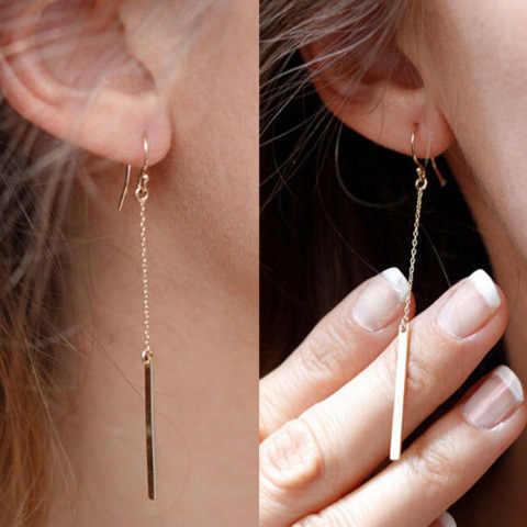 2018 estilo europeo pendientes de moda de cadena larga recta pendientes de gancho de oreja joyería fina Punk para mujer