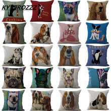 ФОТО cushion cover animal french bulldog pug dog pillowcase woven cotton linen car pillow covers decorative home decor