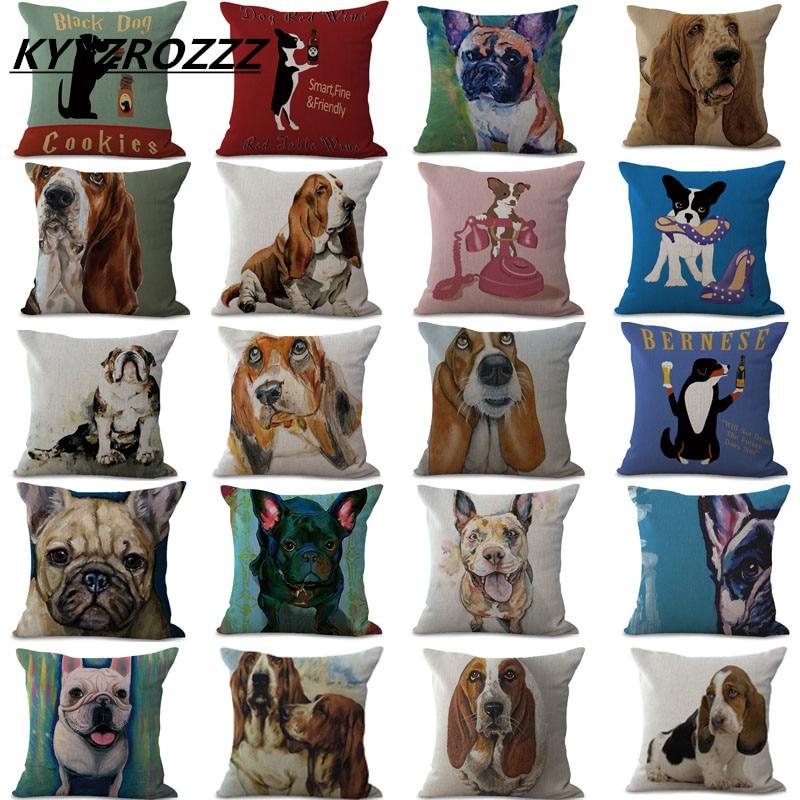 Cushion Cover Animal French Bulldog Pug Dog Pillowcase Woven Cotton Linen Car Pillow Covers Decorative Home Decor