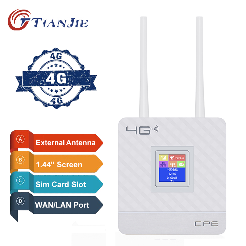 Unlocked 4G Router External Antenna WiFi Hotspot Wireless 3G 4G Wifi Router WAN LAN RJ45 Broadband CPE Router With Sim Card Slot