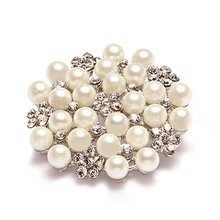 Hat accessory Fashion Jewelry Imitation Pearls Floral Ivory and Silver-Tone Crystal Brooch Pin