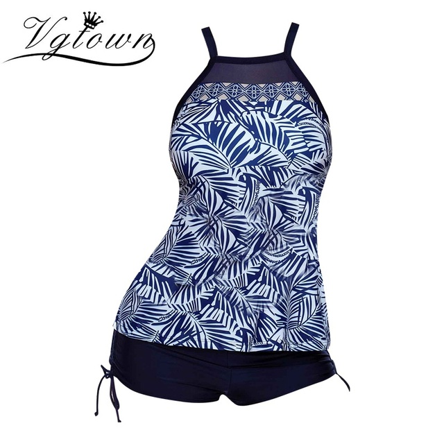 f02603ad07fb2 VGTOWN 2019 New Plus Size 5XL Women Swimsuit Blue Print Tankini Swimwear  Straps Beach Bathing Suit Swim Suit Biquini