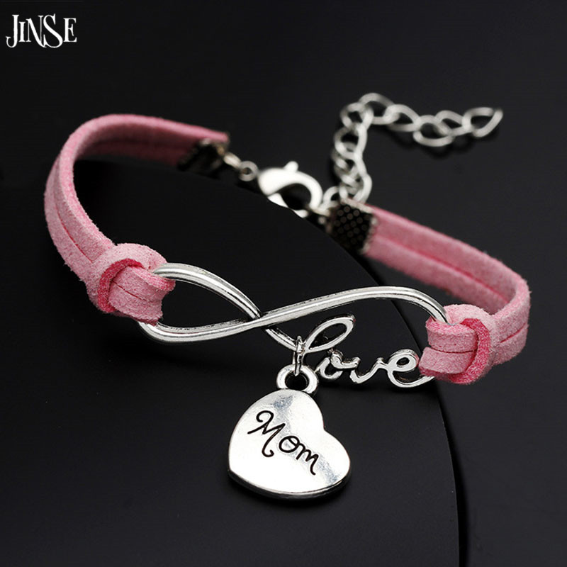 "JINSE New Infinity love ""mom"" for mother's day gift&Bangles woman fashion Jewelry Handmade Wristband Leather Charms WSB031"