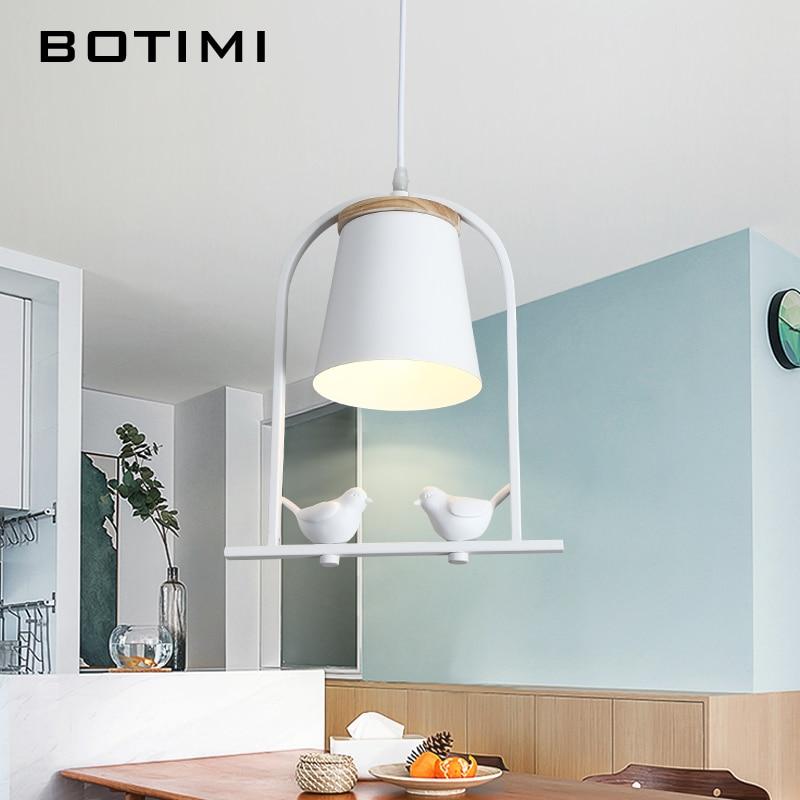 Здесь можно купить  BOTIMI Birds LED Pendant Light For Dining Room White Pendant Lamp Matel Hanging Lustre Modern Suspension Luminaire  Свет и освещение