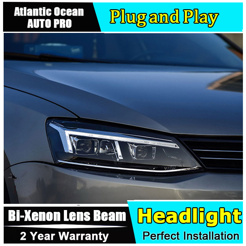 Auto part Style LED Head Lamp for VW Jetta led headlight 2012-2016 for Jetta H7 hid Bi-Xenon Lens angel eye low beam hireno headlamp for mercedes benz w163 ml320 ml280 ml350 ml430 headlight assembly led drl angel lens double beam hid xenon 2pcs