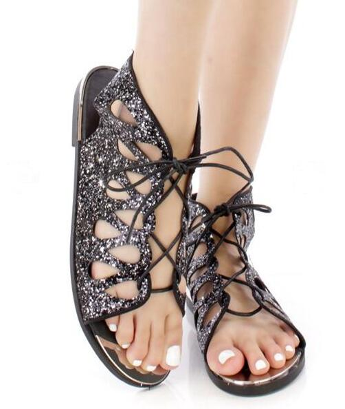 2018 Summer Newest Bling Black/Silver Glitter Women Open Toe Sandals Sexy Cut Out Ladies Lace Up Flat Sandals Slingback Shoe black sequins embellished open back lace up top
