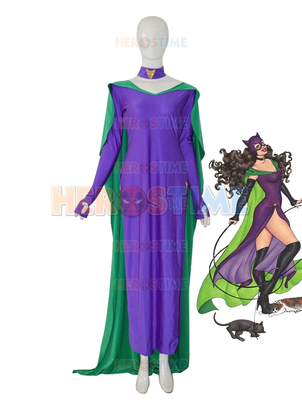 New Style Catwoman Superhero Costume Female  Green & Purple Dress Fullbody Zentai Suit For Girl The Most Popular Free Shipping