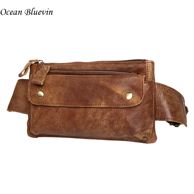 Hot Sale New Genuine Leather Waist Bag Solid Women Men Phone Bag Money Belt Waist Pouch Fanny Pack Men's Belts Purse Man Bag cuwhf vintage men s leather purse waist bag black adjusted belt bag man casual waist pack pouch brief design fashion waist bag