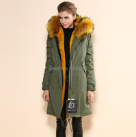 2017 Mr MRS Yellow Raccoon Hoodies Army Long Down Jacket,Thickness Fur Lined MeiFNG Selling