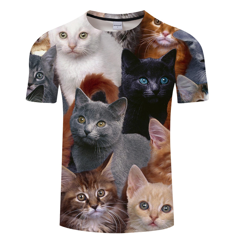 Summer leisure printing men and women t shirt, cartoon funny many cats 3d printed t shirt men Asian size s-6xl