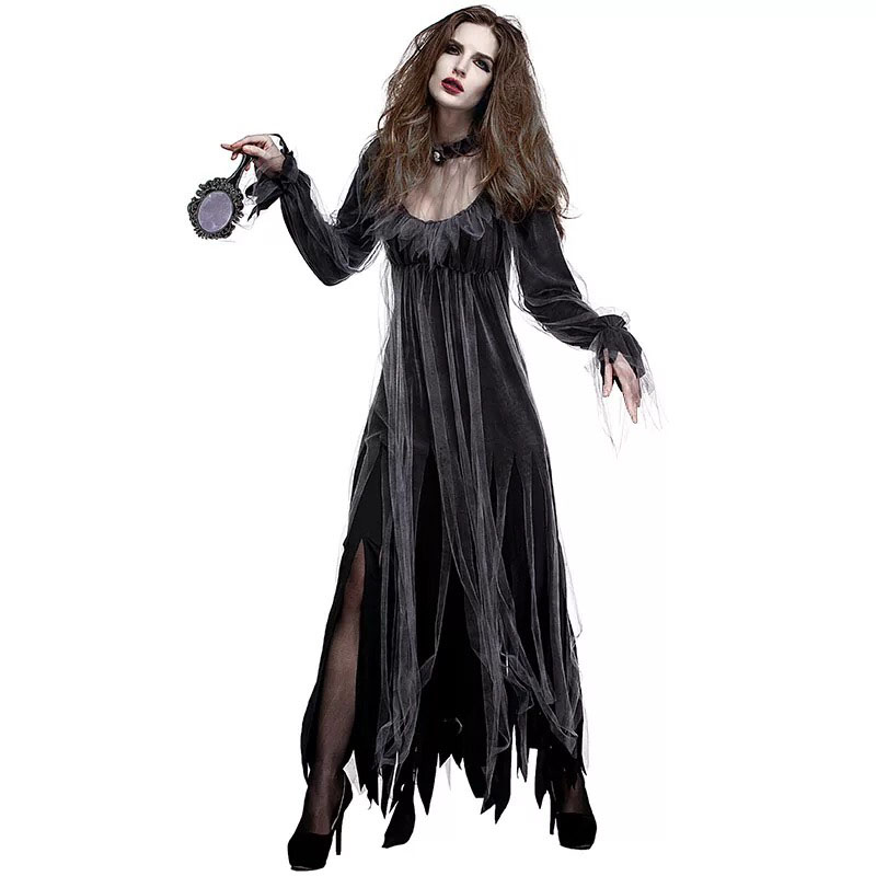 Lady Halloween Gothic Horror Walking Dead Zombie Vampire Costume Black Dark Gruesome Ghost Dress Scary Clothing For Female Women
