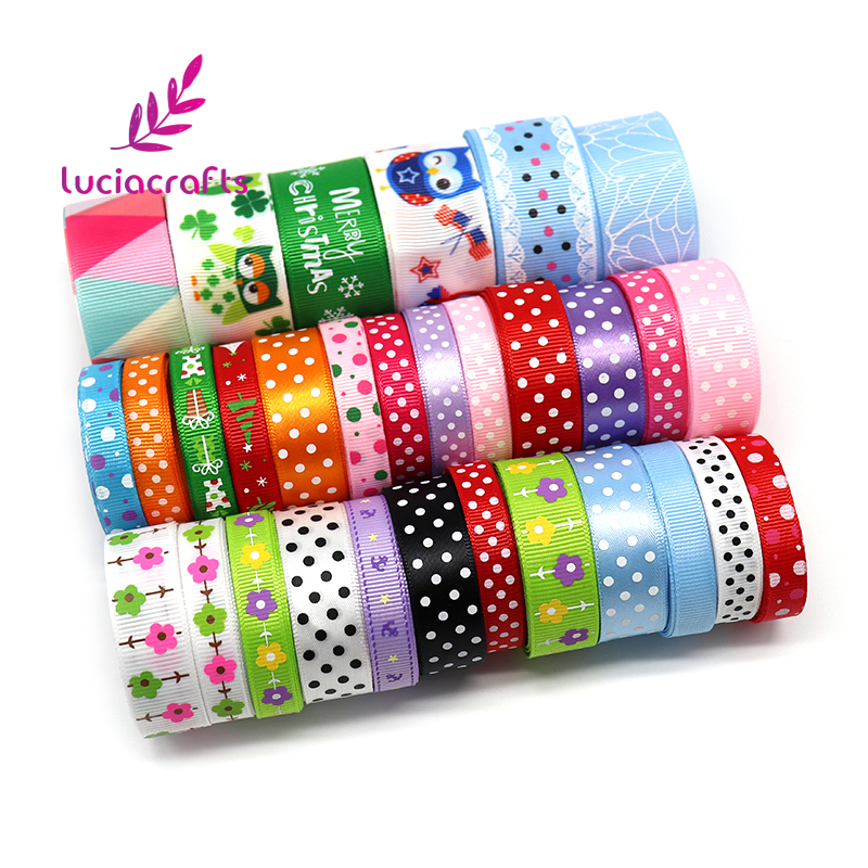 Lucia crafts Multi Mixed Printed Grosgrain Satin Ribbons DIY Sewing Hairbows Gift Wrapping Christmas Ribbon Accessory 040054240 10 25yards new arrive 3 8 10mm satin ribbon polka dots printed ribbon with white dots diy hairbow accessories more color
