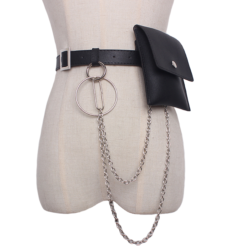 New Fashion Women Waist leather belt bag color leather cool tide For Girl Metal tassel Chain Waist Packs Belt accessories