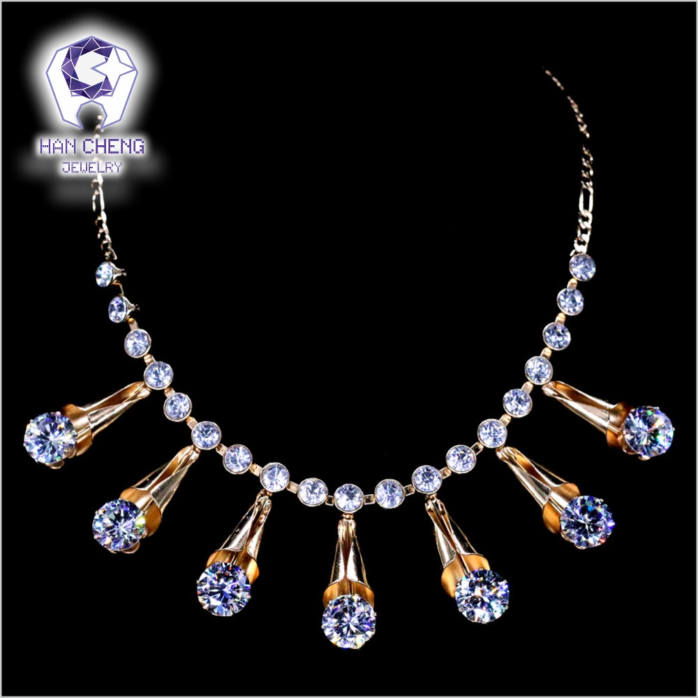 Golden Metal Icecream Reel Rhinestone Dazzle Clear White AAA Zircon Pendant Necklace Women Jewelry Figaro Chain Necklace Fashion