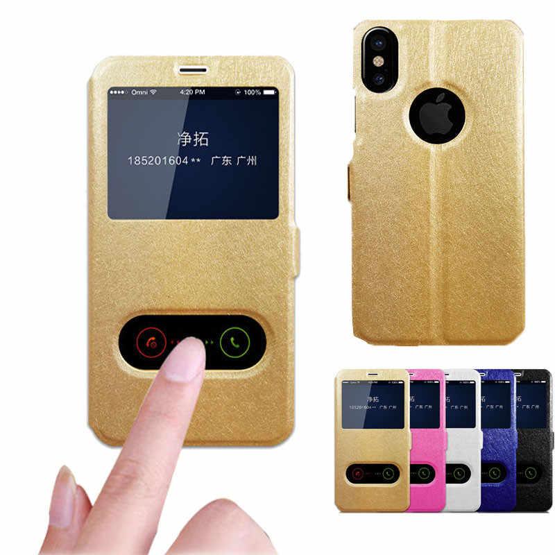Фото Роскошный чехол книжка из искусственной кожи для iphone XS XR Max View Window 4 4S 5 5S SE 6 6S 7 8 Plus X