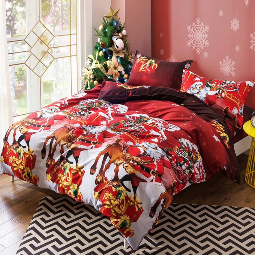 New 3d Santa Claus Bedding Set Colorful Christmas Duvet Cover Sets Bed Sheets Pillowcases Queen