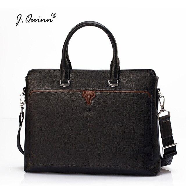 J Quinn Mens Leather Briefcases Office Genuine Bag Men Briefcase Business Handbag Male Casual