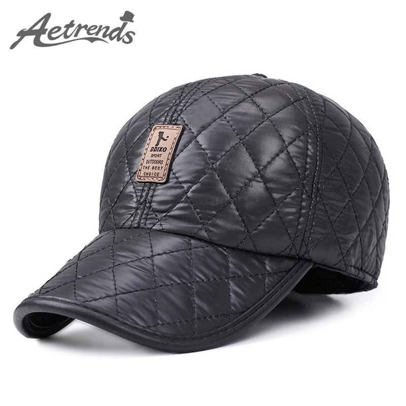[AETRENDS] Zimski Muškarci Kapa Baseball Hat Plaid Stilski s Ušima Muške Kape 5 Kapa Fitted Panel s Fan Bone Trucker Hat Z-1689