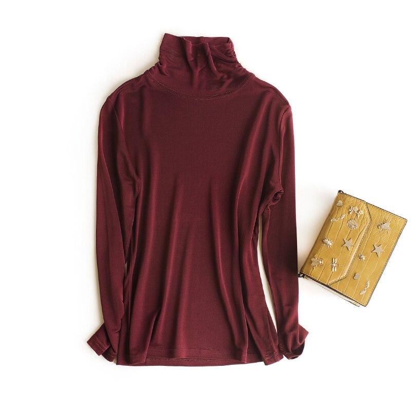 ardoisé Plis Femme m fuchsia T Épaissi Chemise shirt Roulé corail 145 Noir Manches Rouge Tricot gris Longues En Double Col G Soie Véritable WHRWwfFq0