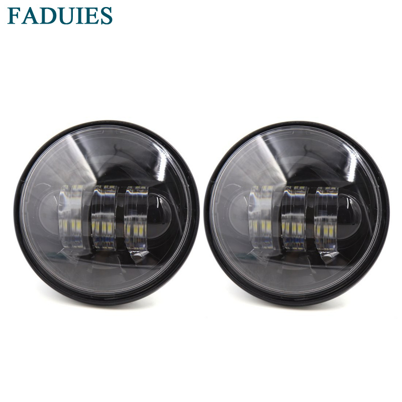 FADUIES Free shipping Black 4.5 inch 30W Motorcycle LED Auxiliary Fog Passing Light for Harley Motorcycle fog Lights led motorcycle fog lights chrome for harley 12v 4 5 inch fog lamp 4 1 2 30w passing drl waterproof motorbike black for harley