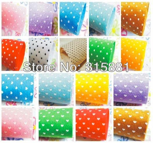 Printed polka dots hearts flowers felt fabric 26pcs lot 12 for Polka dot felt fabric