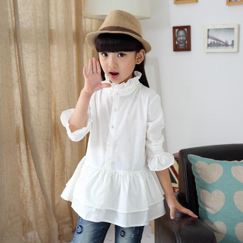 2015 autumn new baby girls clothes shirts skirt white