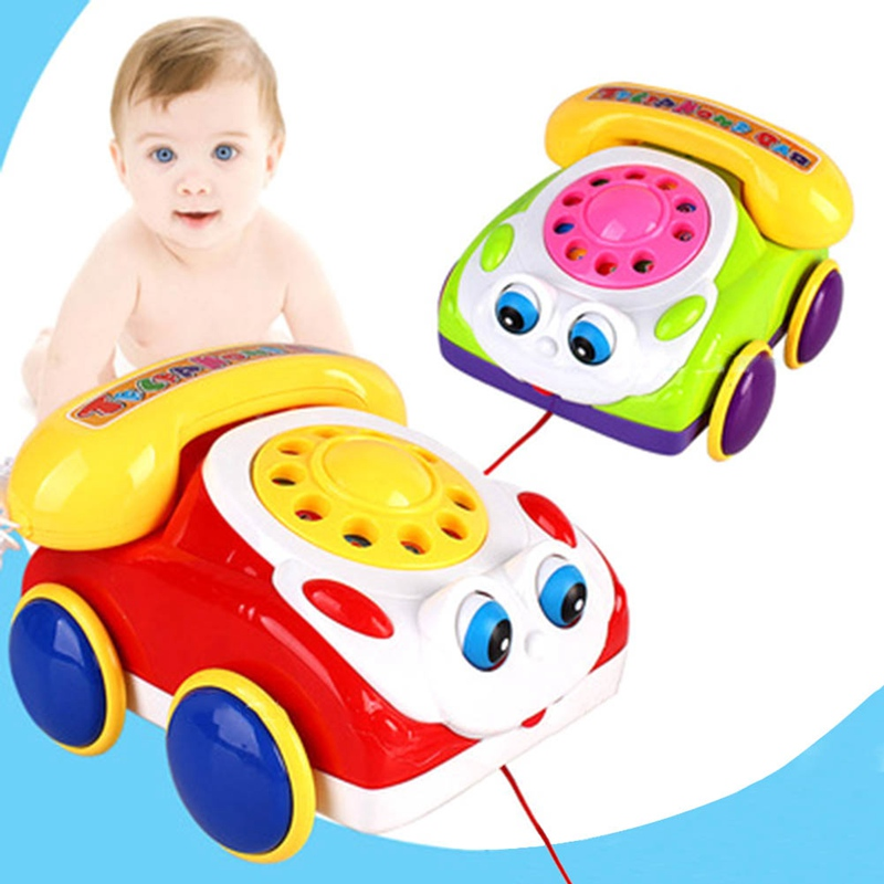 Baby Telephone Toy Colorful Plastic Children's Intelligence Fun Music Phone Toy Toddler Telephone Classic Kids Pull Toy