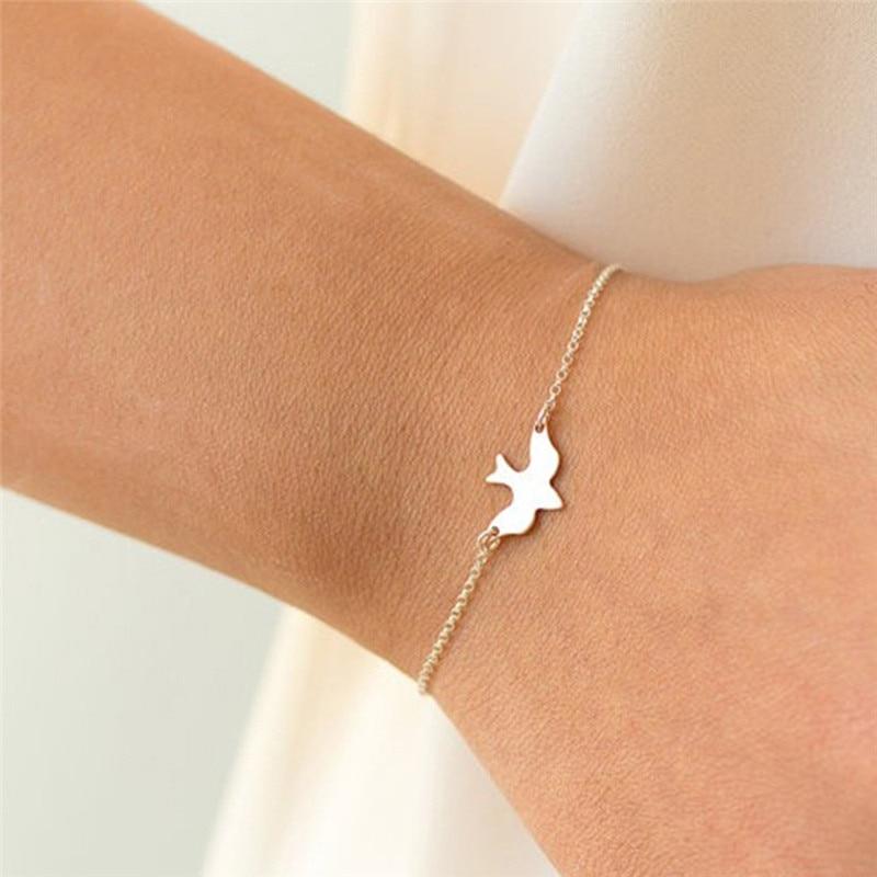 Love Tiny Peace Dove Bracelets for Women Soar Flying Birds Bracelet Little Cute Swallow Baby Bird Jewelry Gifts