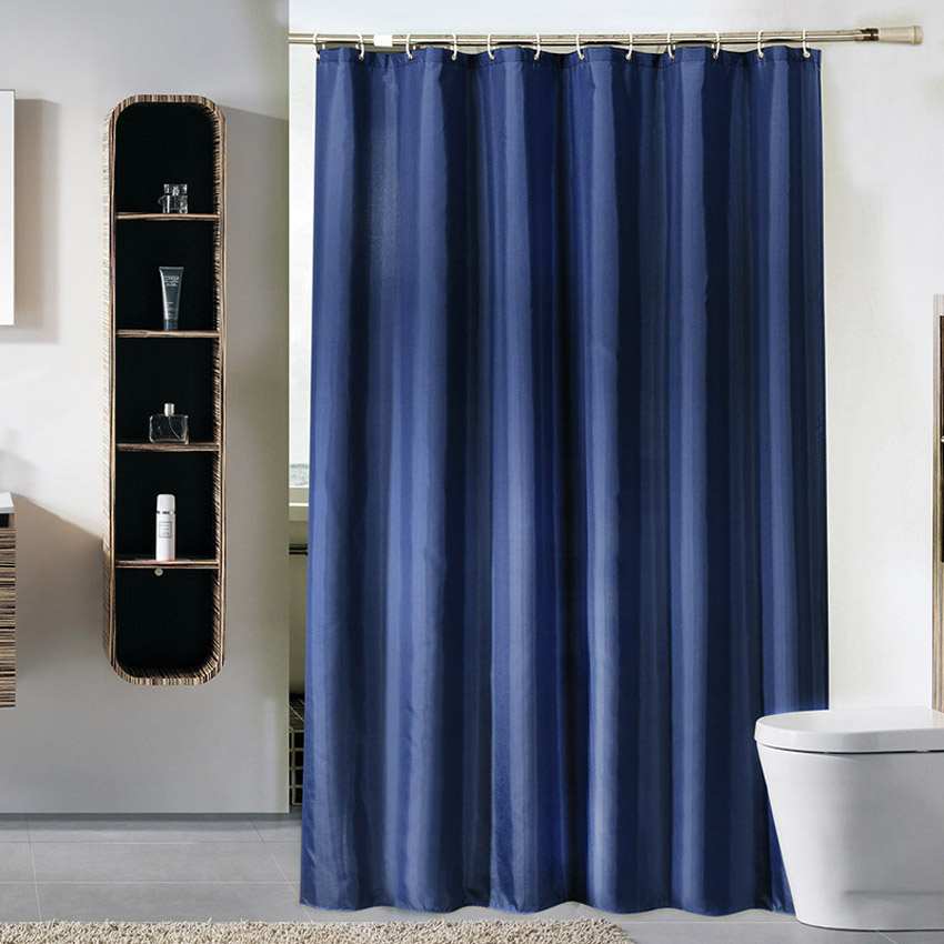 Solid Color Shower Curtain Dark Blue