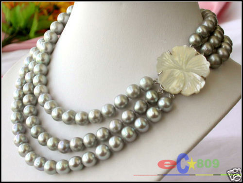 Hot selling free shipping******* AA++3ROW 11MM GRAY WHITE FRESHWATER PEARL NECKLACE цена и фото