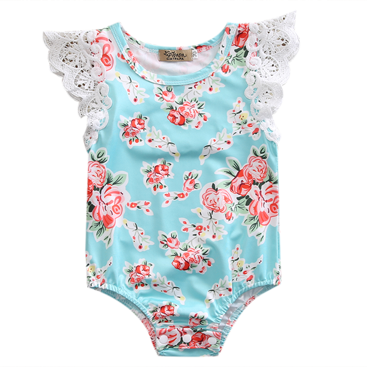 2017 Newborn Baby Girl Infant Floral Sleeveless Lace Jumpsuit Bodysuit Outfits Clothes 0-24M