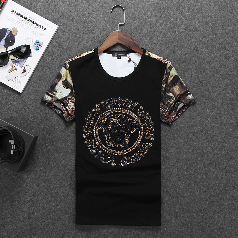 2015 summer style designer t shirt patwork printed shirt for Luxury t shirt printing