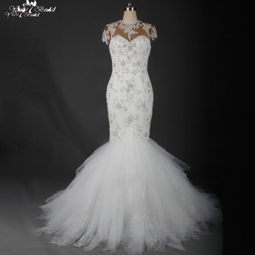 TW0176 Heavy Beading Bling Cap Sleeves See Through Wedding Gown Mermaid  Luxury Wedding Dress bab21e80050e