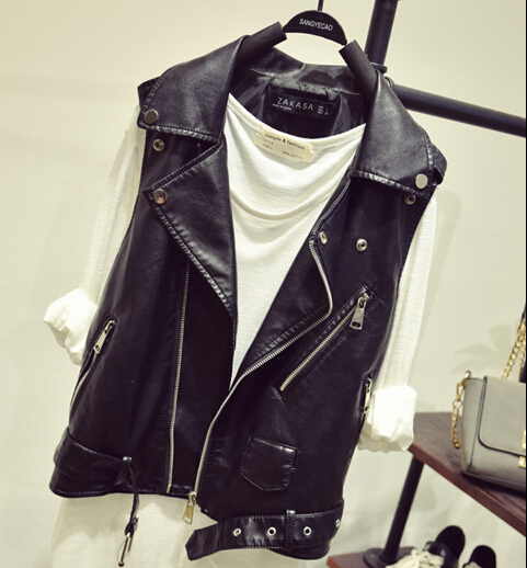 Women Autumn   Leather   Vest Zipper PU   Leather   Waistcoat For Women Black Fashion Streetwear Sleeveless Jacket A2745