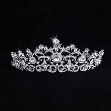 2017 de La Vendimia del Oro Blanco Plateó Nupcial de Cristal Tiara Crowns Pelo Accesorios Austria Rhinestone Queen Pageant Prom Tiara Diadema