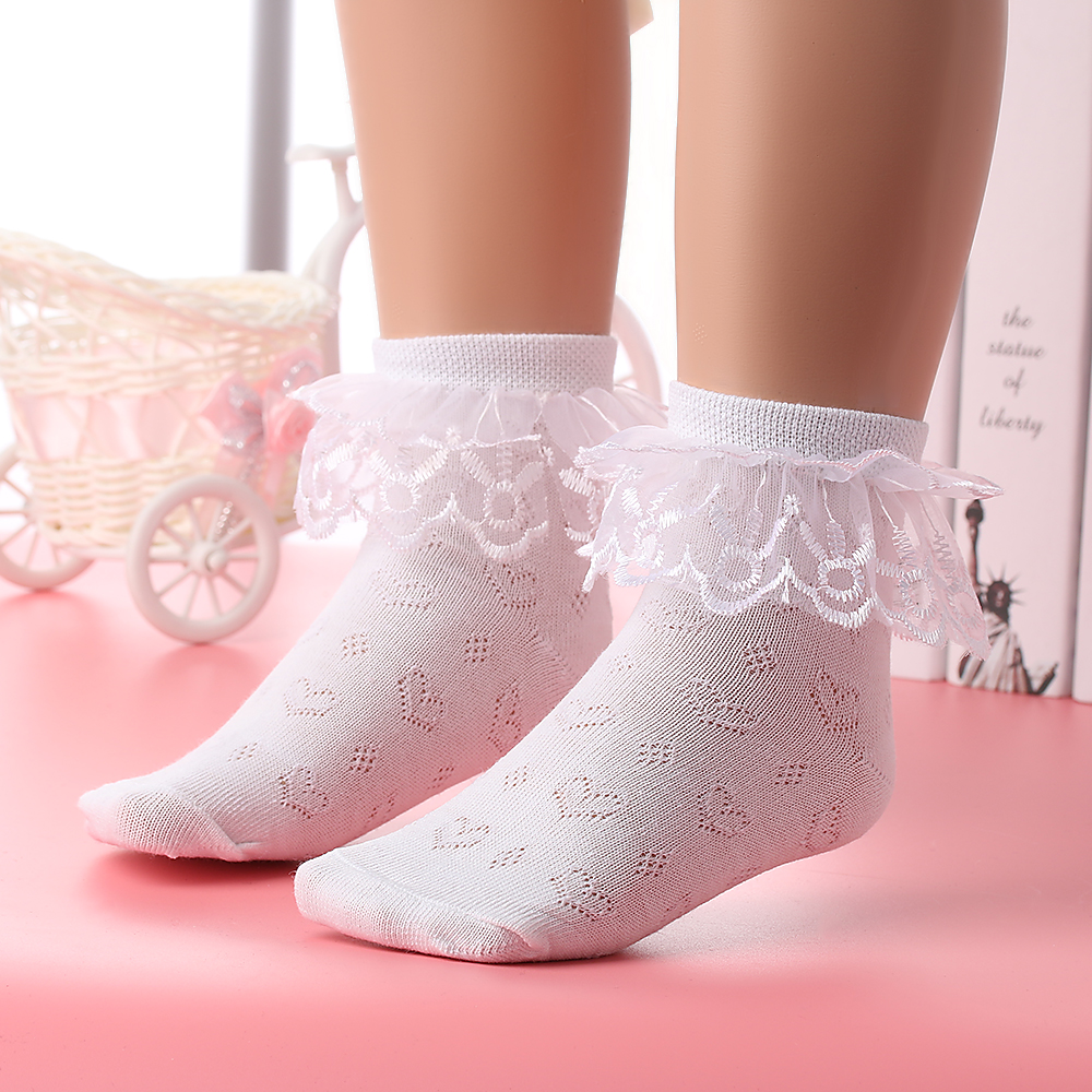 New Fashion princess Lace Fold Soft Cotton Breathable Socks Toddlers Kids Girl