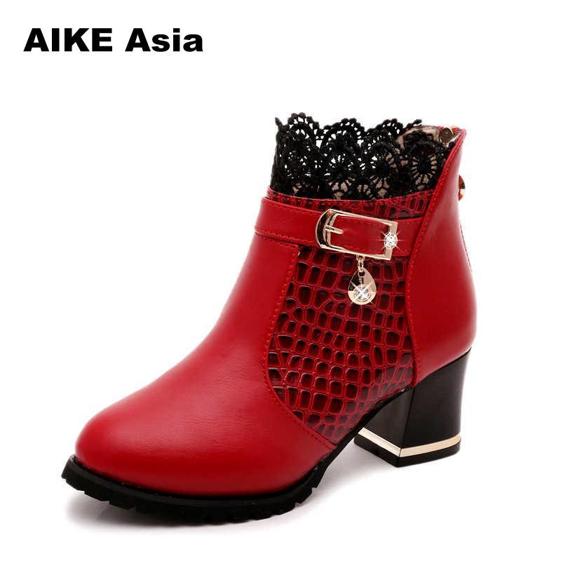 Sexy rojo La Grueso Plataforma Tacón De 2019 Tobillo Black Botas Negro Moda red Invierno Encaje Pu Mujer Mujeres Zapatos 0E6wEg
