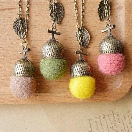 Original handmade wool felt Acorn long Necklaces & Pendants collar 2015 vintage jewelry accessories