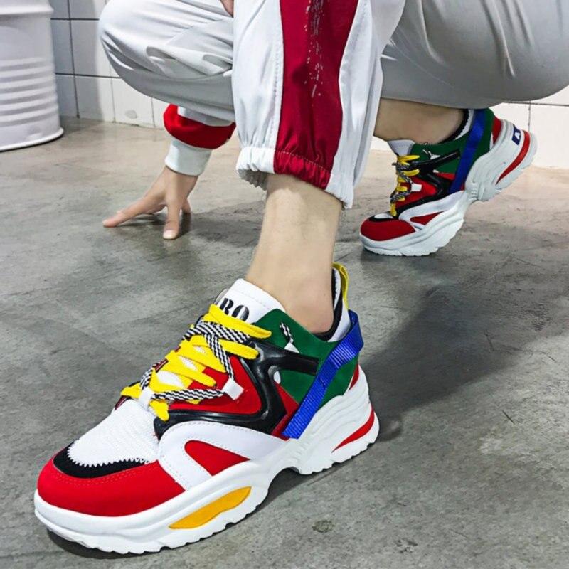 Plate Sneakers up Chaussures Couleurs 2018 Deportivas Femmes Nouvelles Mujer forme Casual 2 Dentelle Mélangées 1 Zapatillas WnBBXwT