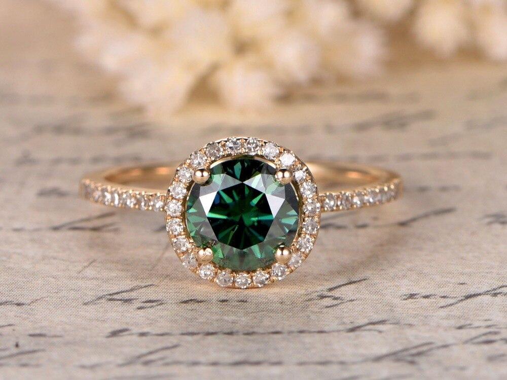 MYRAY Charles Colvard 6.5mm Round Green Moissanite Diamond Halo 14k Yellow White Rose Gold Engagement Wedding Ring Rings Women