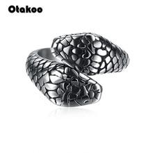 Otakoo New new Silver Men *Women Hot Ring Snake Animal Stain