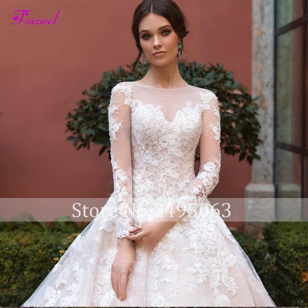 New Fashion O-neck Beaded Long Sleeve A-Line Wedding Dress 2019 Appliques Royal Train Lace Princess Bride Gown Vestido de Noiva